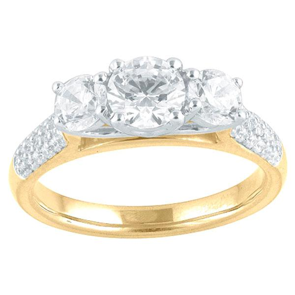 Round Brilliant Cut Three Stone Diamond Engagement Ring With Diamond Shoulders