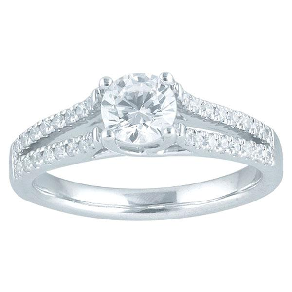 Round Brilliant Cut Diamond Engagement Ring With Split Diamond Shoulders