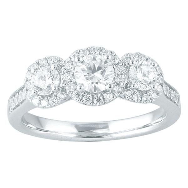 Round Brilliant Cut Three Stone Diamond Engagement Ring With Halo & Diamond Shoulders
