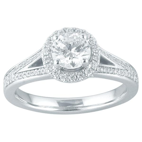 Round Brilliant Cut Diamond Engagement Ring With Halo & Diamond Shoulders