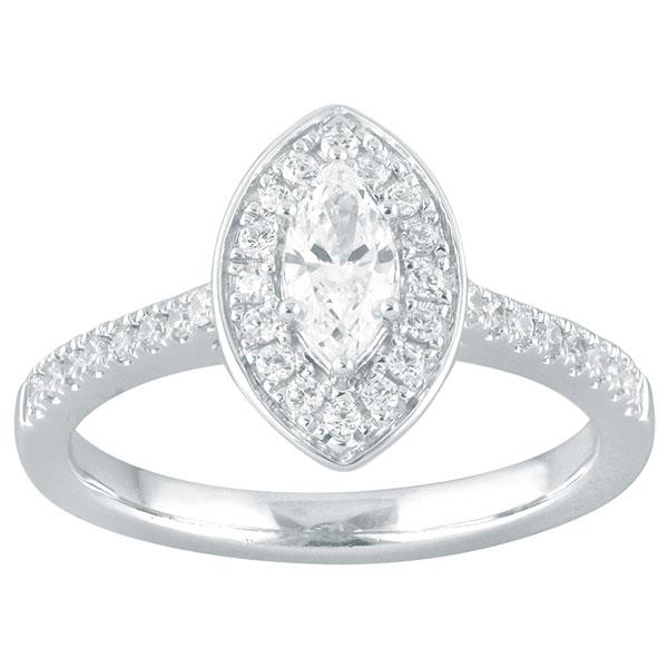 Marquise Cut Diamond Engagement Ring With Halo & Diamond Shoulders