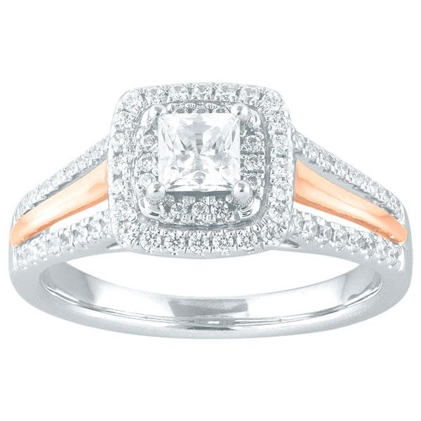 Princess Cut Diamond Engagement Ring With Double Halo & Diamond Shoulders