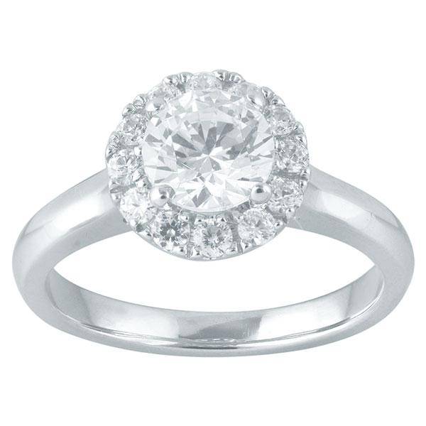 Round Brilliant Cut Diamond Engagement Ring With Halo