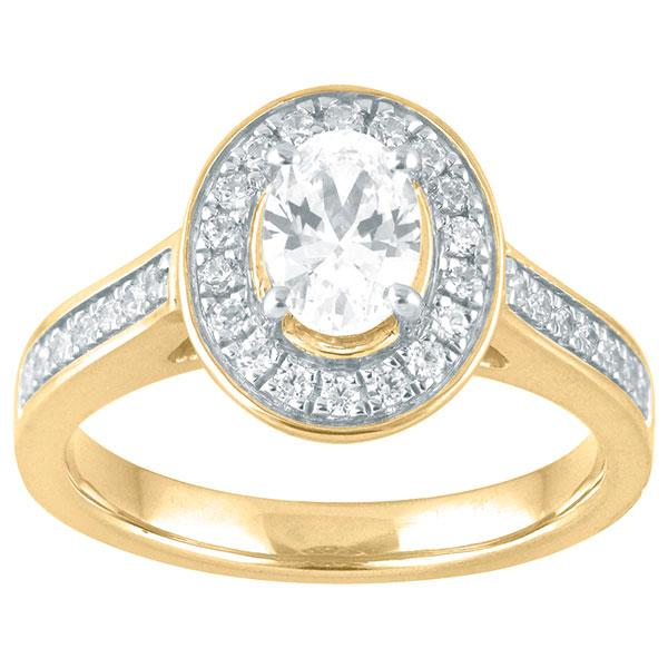 Oval Cut Diamond Enagement Ring With Halo & Diamond Shoulders