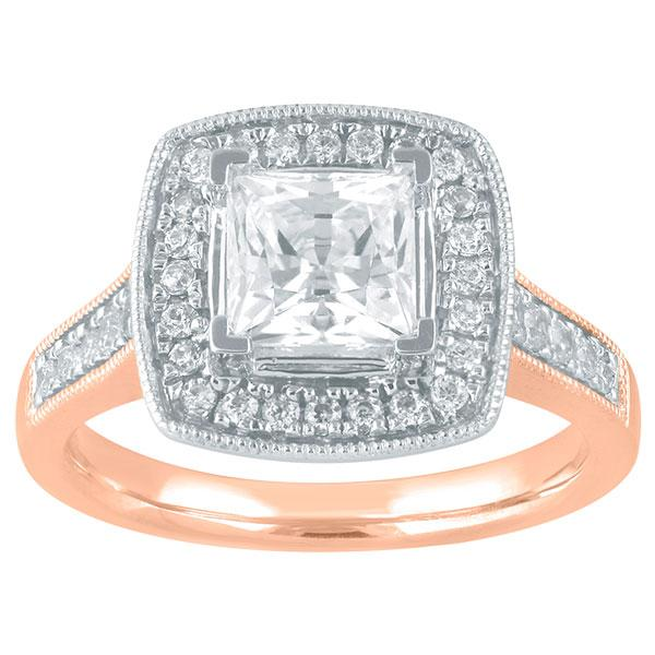 Princess Cut Diamond Engagement Ring With Halo & Diamond Shoulders