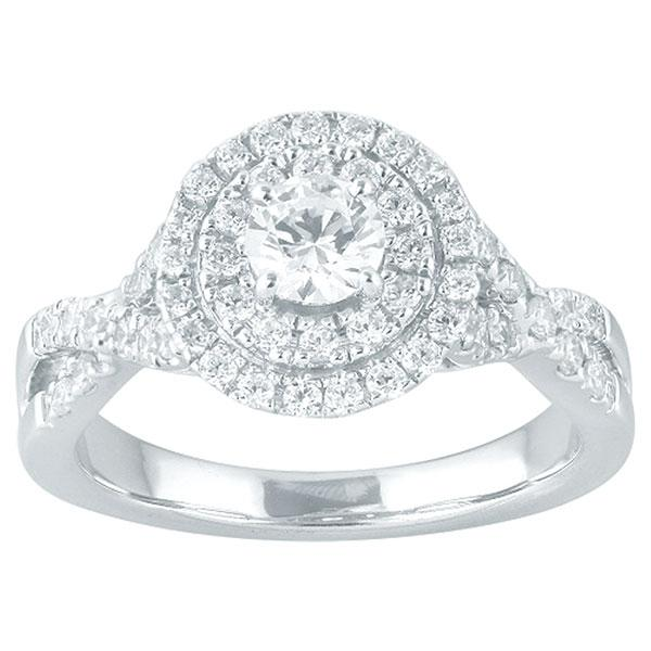 Round Brilliant Cut Diamond Engagement Ring With Double Halo & Diamond Shoulders