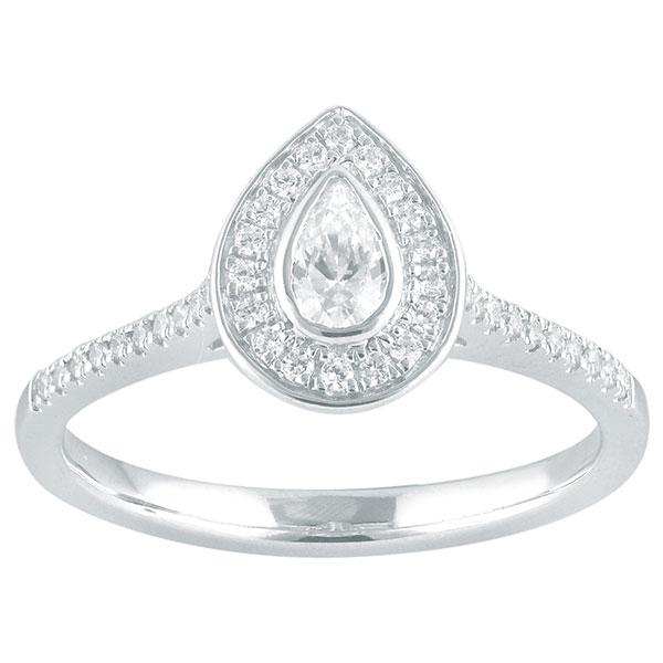 Pear Cut Diamond Engagement Ring With Halo & Diamond Shoulders