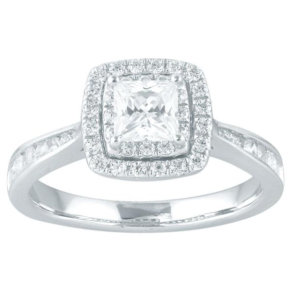 Princess Cut Diamond Engagement Ring With Double Halo & Channel Set Shoulders