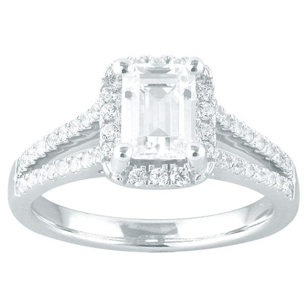 Emerald Cut Diamond Engagement Ring With Halo & Split Diamond Shoulders