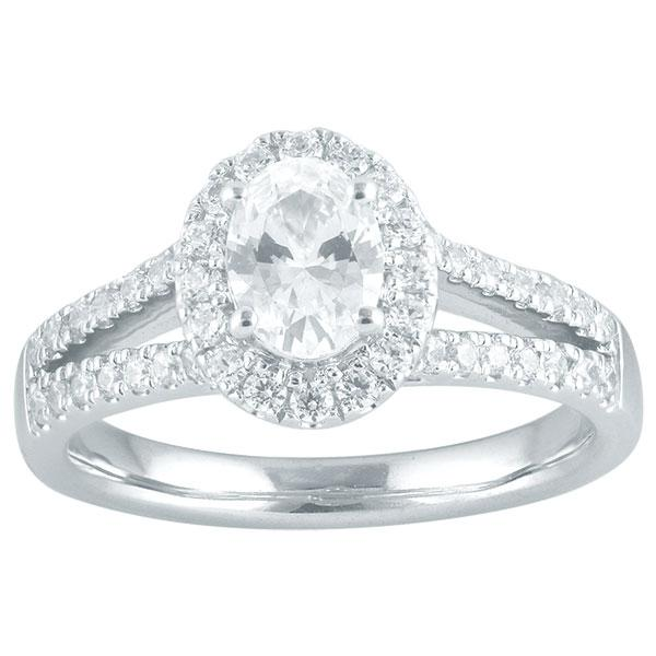 Oval Cut Diamond Engagement Ring With Halo & Diamond Split Shoulders