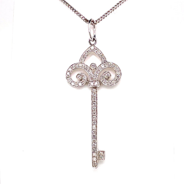 18CT White Gold Diamond Key Pendant