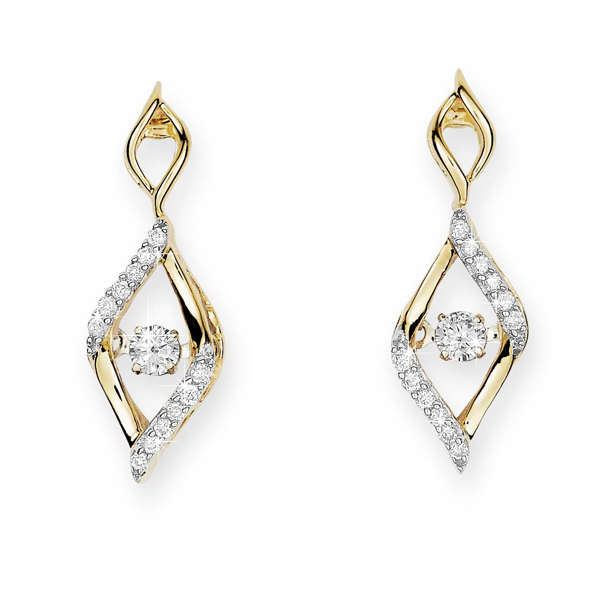 9Ct Yellow Gold Dancing Diamond Flame Earrings