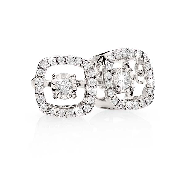 9Ct White Gold 0.15Ct Dancing Diamond Stud Earrings