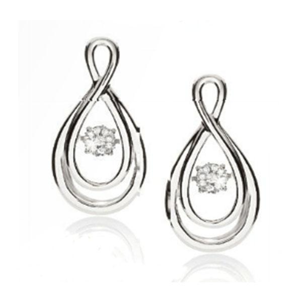 9Ct White Gold Dancing Diamond Infinity Earrings