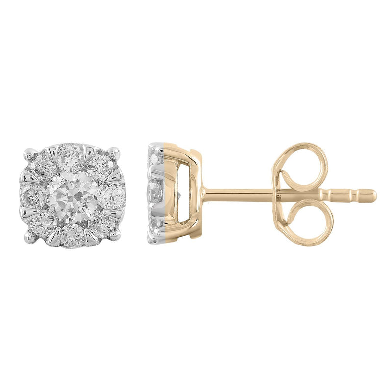 Stud Earrings with 0.5ct Diamonds in 9K Yellow Gold