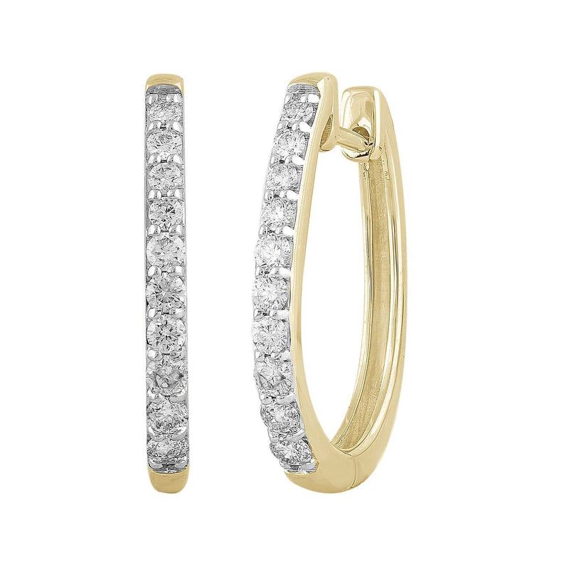 Huggie Earrings with 0.5ct Diamonds in 9K Yellow Gold