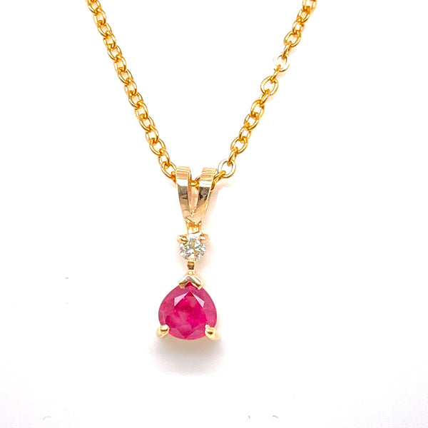 9CT Yellow Gold Ruby & Diamond Pendant