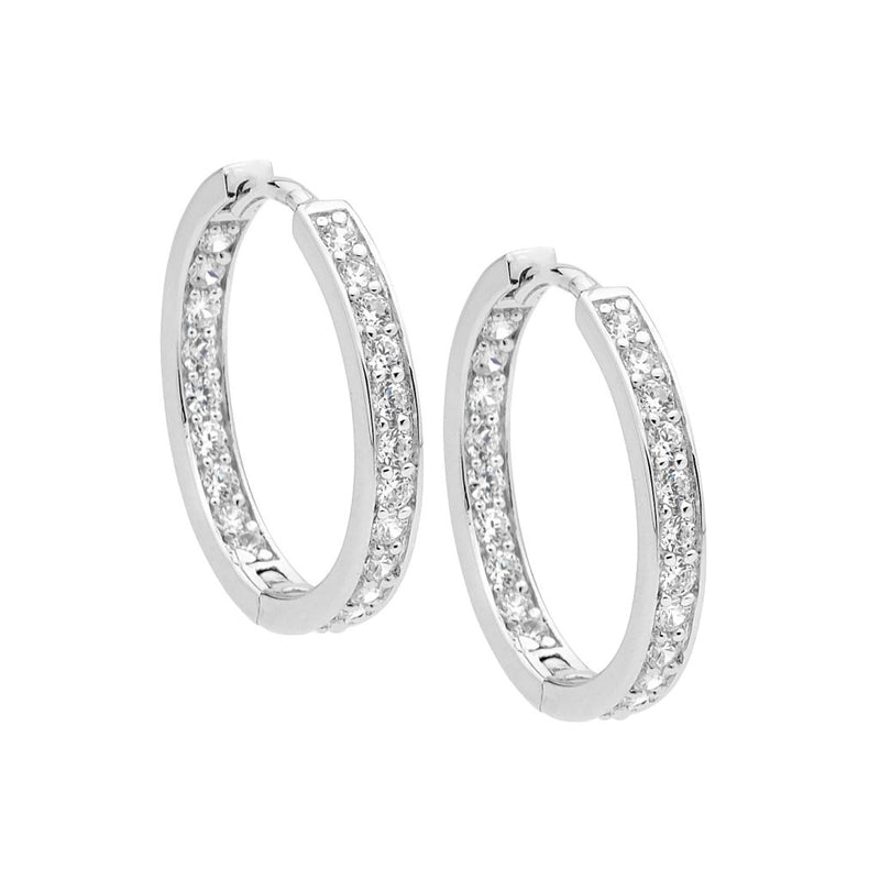 Sterling Silver 23mm Cubic Zirconia Hoop Earrings