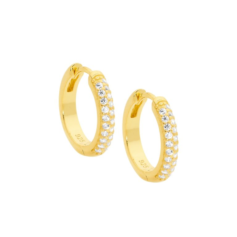 Sterling Silver Cubic Zirconia Pave 16mm Hoop Earrings w/ Gold Plating