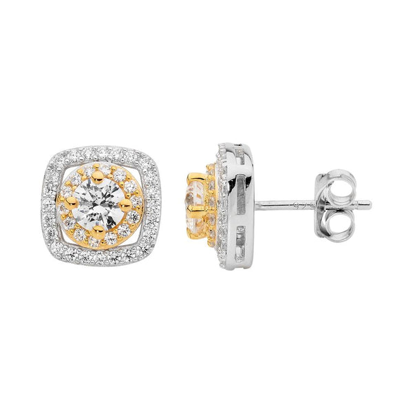 Gold Plated Sterling Silver Cubic Zirconia Stud Earrings