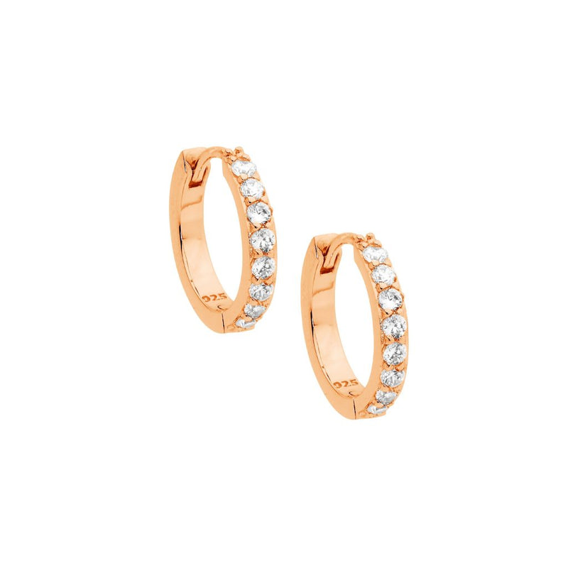 Sterling Silver Cubic Zirconia Single Row 15mm Hoop Earrings w/ Rose Gold Plating