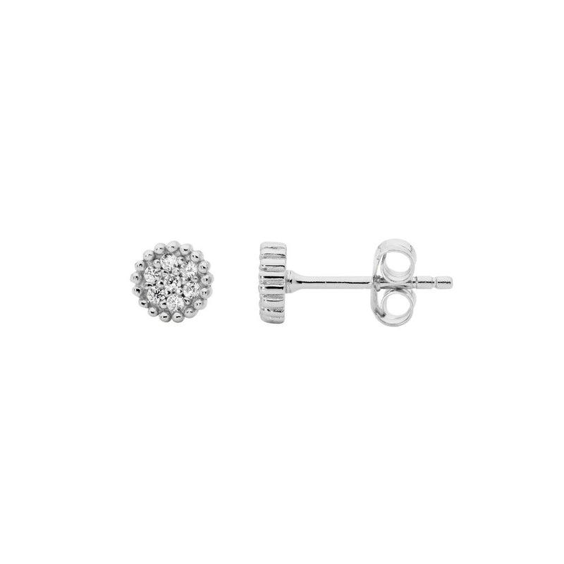 Sterling Silver 5mm Crown Set  Cubic Zirconia Cluster Earrings