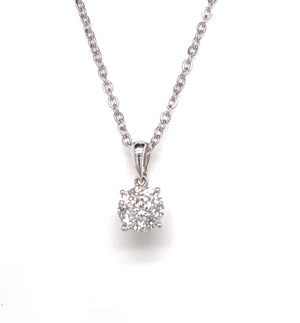 18CT White Gold Cluster Diamond Pendant