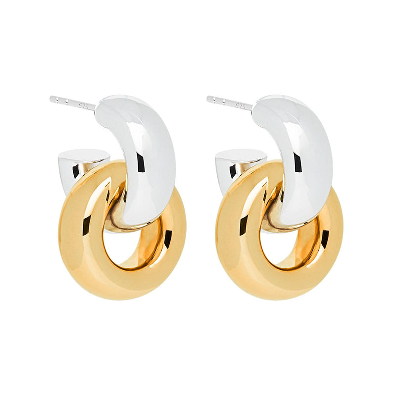 Najo - Tumble Silver & Gold Earrings