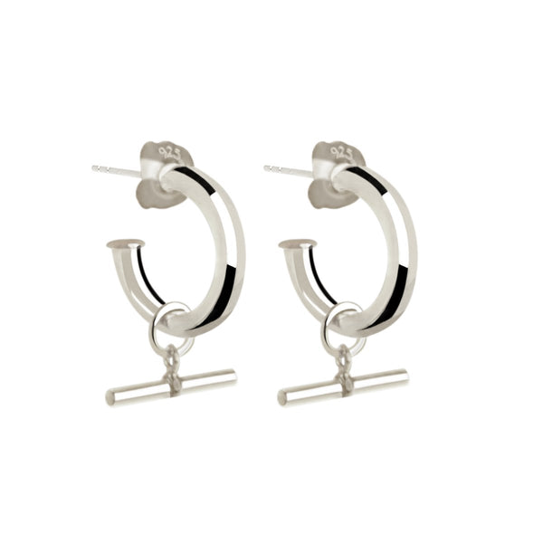 Najo Sterling Silver T-bar Hoop Earring