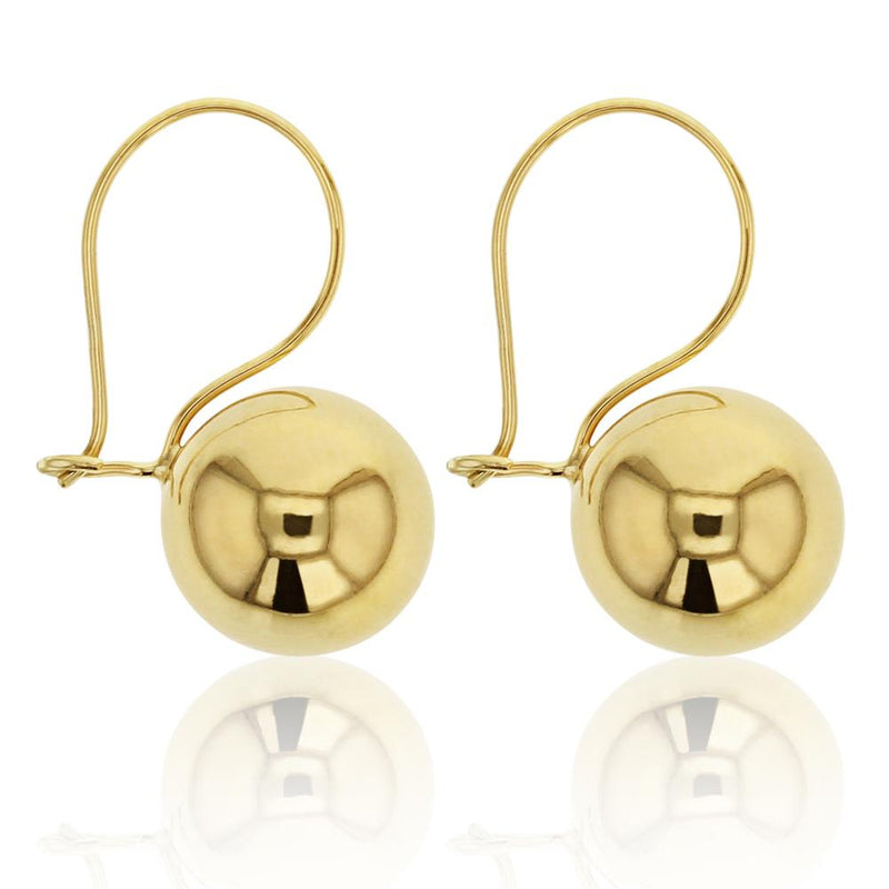 Euroball Drop Earrings in 9ct Gold