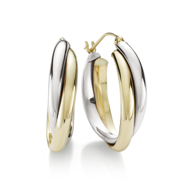 9Ct Two Tone Gold-Bonded Silver Hoop Earrings