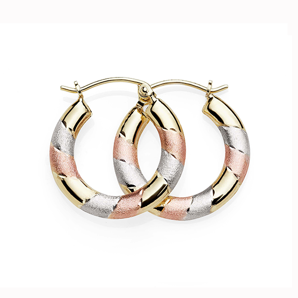 9Ct Yellow Gold-Bonded Silver Tri-Tone Hoop Earrings