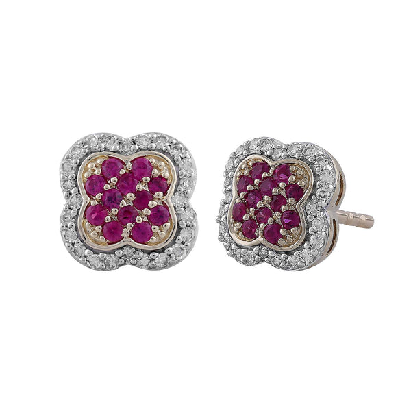Ruby Earrings with 0.14ct Diamonds in 9K Yellow Gold