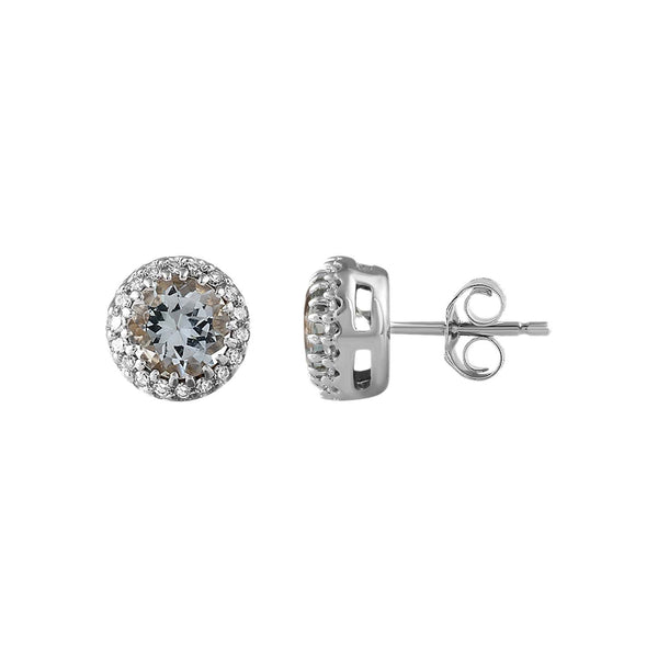 Aquamarine Stud Earrings with 0.05ct Diamond in 9K White Gold