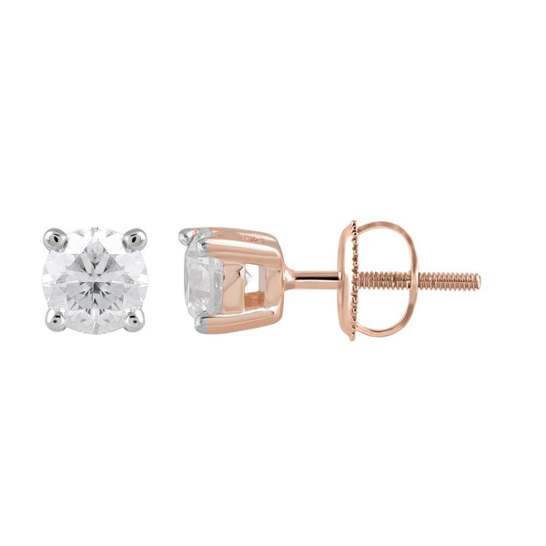 Stud Earrings with 0.5ct Diamonds in 9K Rose Gold