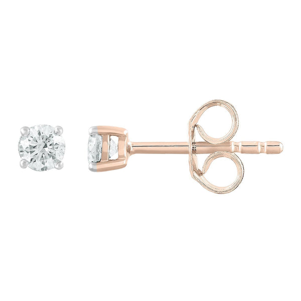 Stud Earrings with 0.25ct Diamonds in 9K Rose Gold
