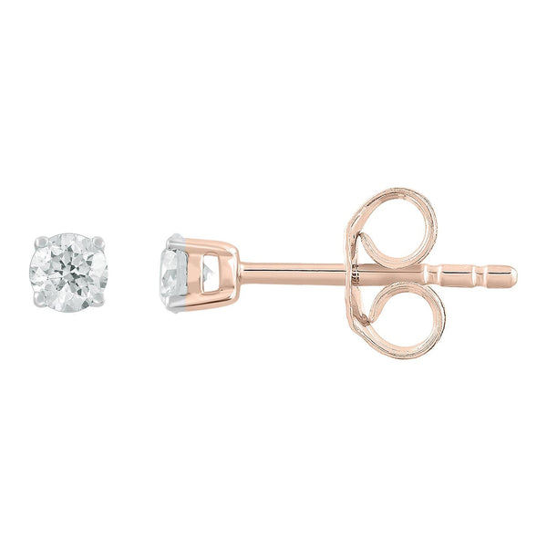 Stud Earrings with 0.15ct Diamonds in 9K Rose Gold