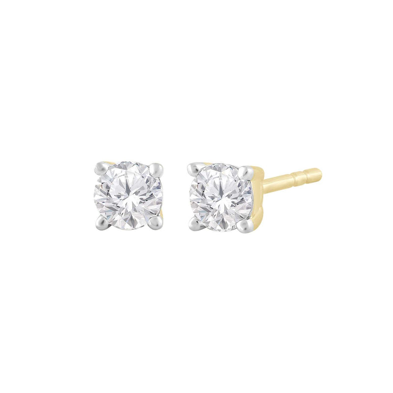 Stud Earrings with 0.15ct Diamond in 9K Yellow Gold