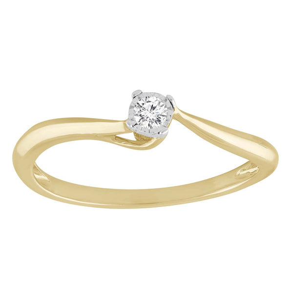 Solitaire Ring with 0.05ct Diamond in 9K Yellow Gold