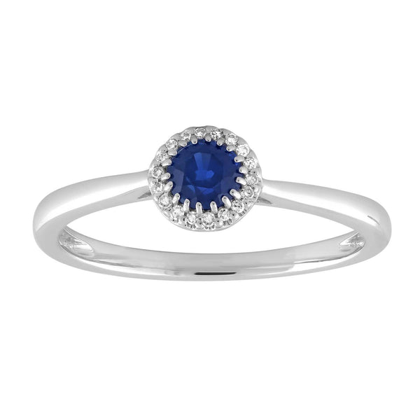 Sapphire Ring with 0.03ct Diamond in 9K White Gold