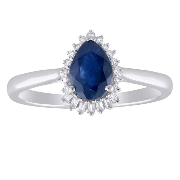 Pear Sapphire Ring with 0.08ct Diamonds in 9K White Gold