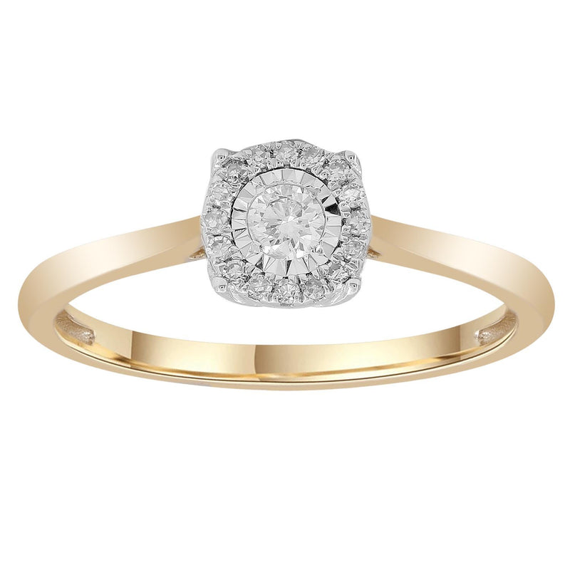Ring with 0.13ct Diamonds in 9K Yellow Gold