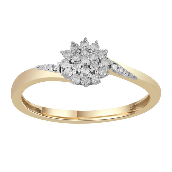 Cluster Ring with 0.15ct Diamonds in 9K Yellow Gold