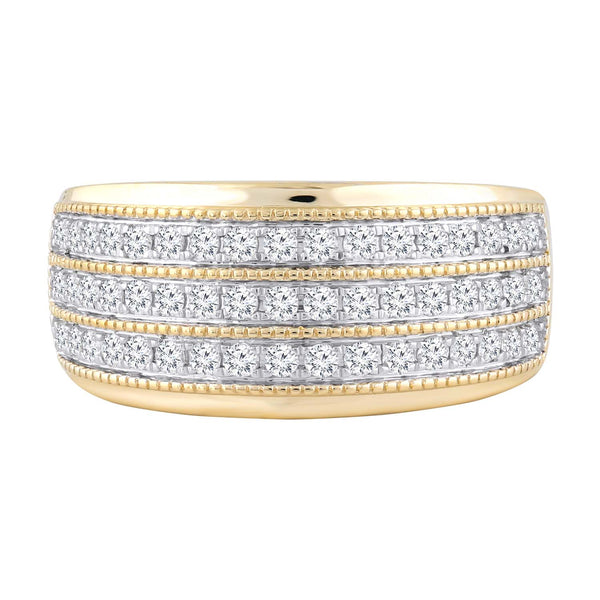 Three Layer Ring with 0.5ct Diamonds in 9K Yellow Gold