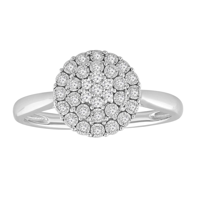 Cluster Ring in 0.15ct Diamond with 9K White Gold