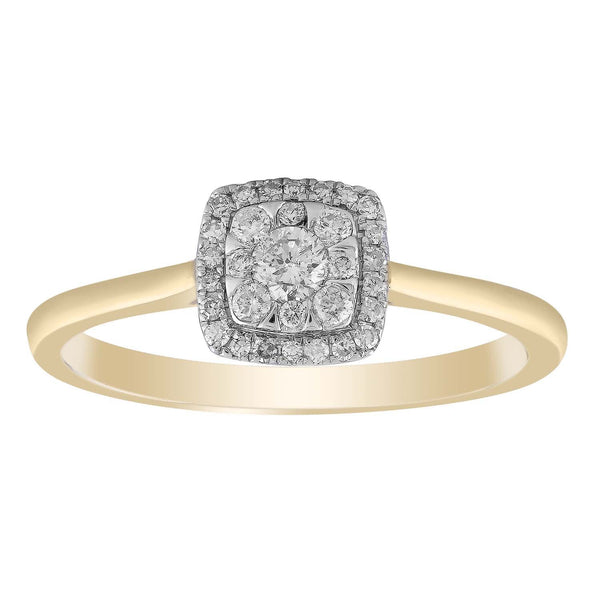 Cluster Ring with 0.25ct Diamond in 9K Yellow Gold