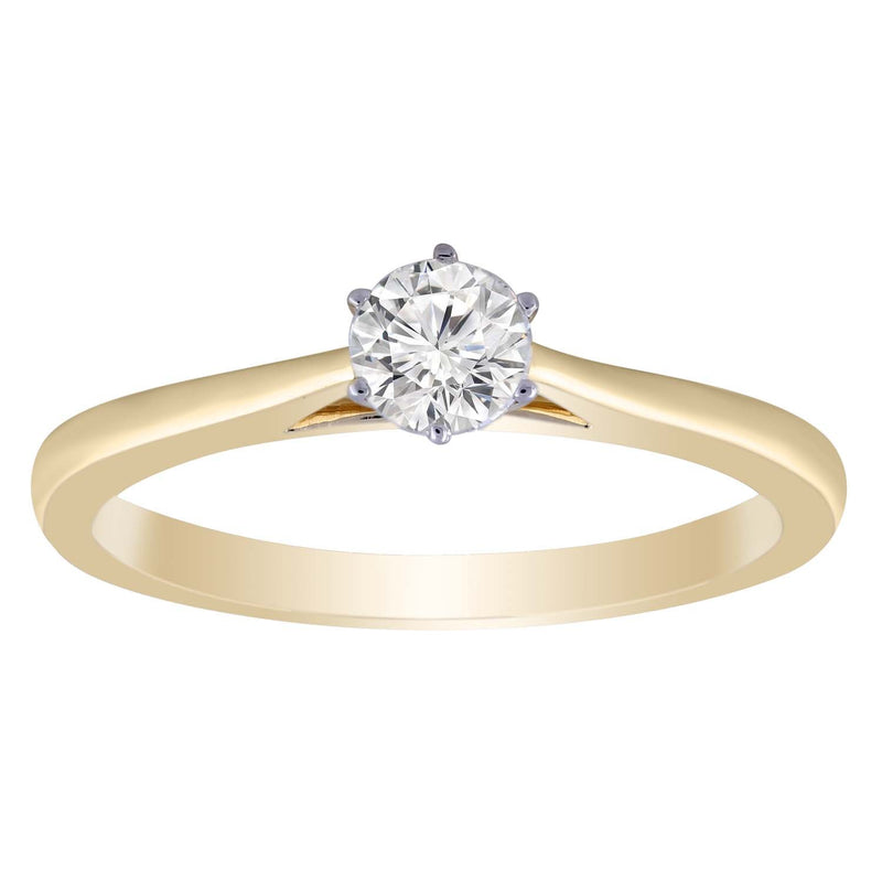 Solitaire Ring with 0.33ct Diamond in 9K Yellow Gold