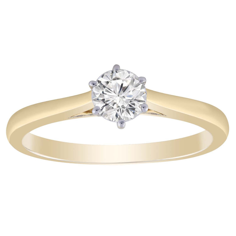Solitaire Ring in 0.5ct Diamond with 9K Yellow Gold
