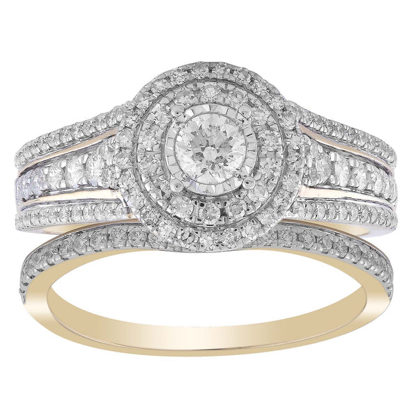 Ring Set with 1ct Diamond in 18K Yellow Gold