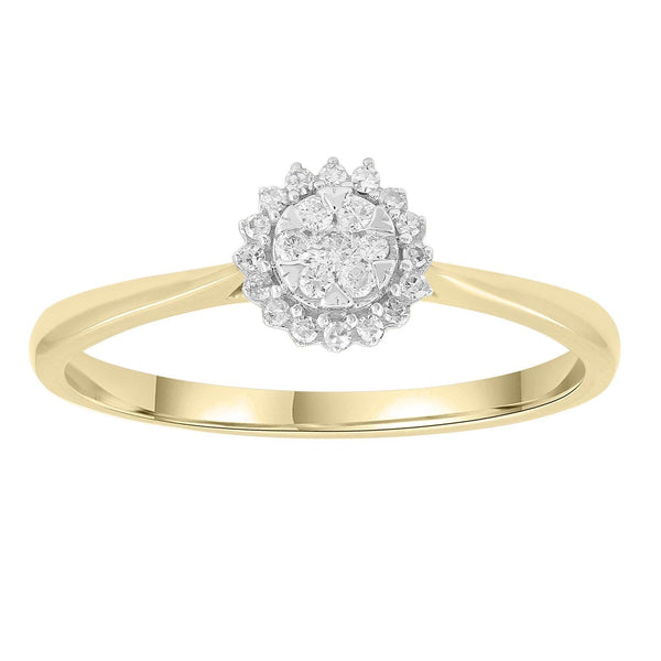 Ring with 0.15ct Diamonds in 9K Yellow Gold